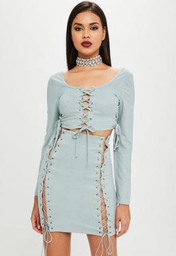 Carli Bybel x Missguided Green Lace Up Mini Skirt