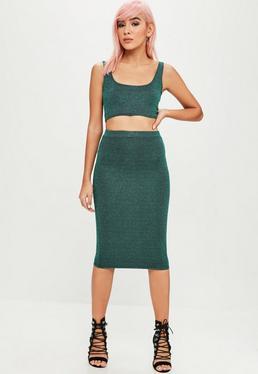 Green Glitter Midi Skirt