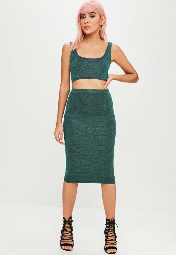 green glitter midi skirt missguided
