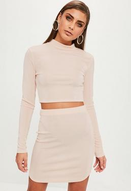 Pink Slinky Curved Hem Co Ord Skirt