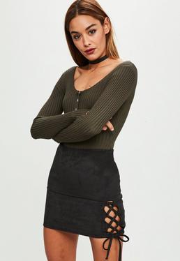 Minifalda de antelina en negro