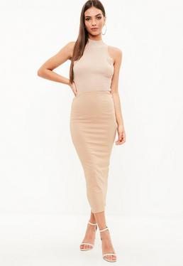 Camel Crepe Midmax Skirt