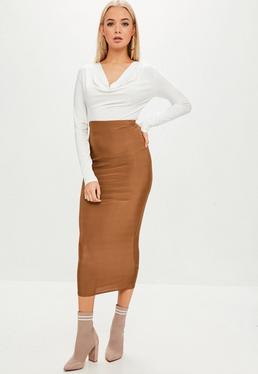 Camel Slinky Midi Skirt