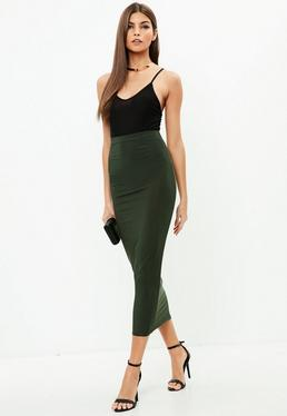 Khaki Slinky Midi Skirt