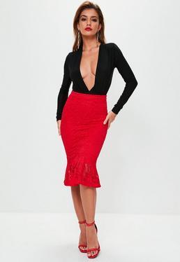 Red Lace Frill Hem Midi Skirt