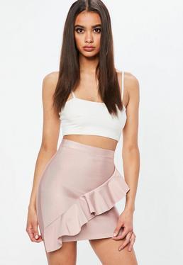 Mauve Asymmetric Frill Mini Skirt