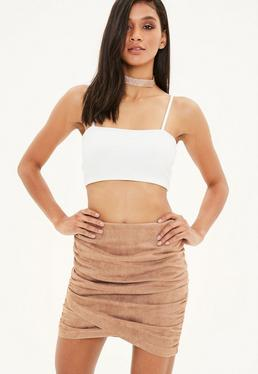 Tan Wrap Ruched Faux Suede Mini Skirt