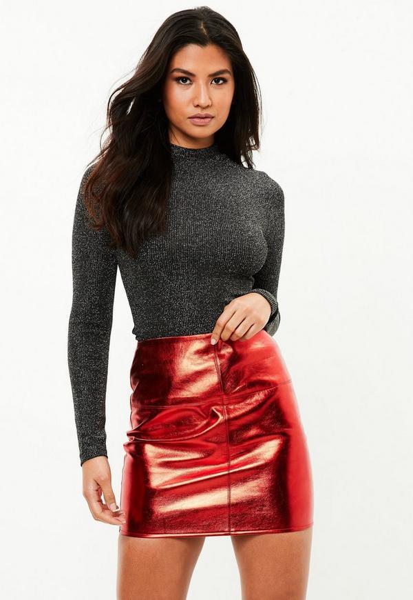 mini jupe rouge en simili cuir m tallis missguided. Black Bedroom Furniture Sets. Home Design Ideas
