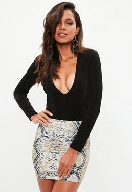 Grey Snake Print Velvet Skirt