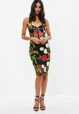 Black Embroidered Mesh Midi Skirt