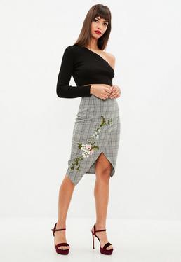 Gray Plaid Wrap Embroidered Midi Skirt