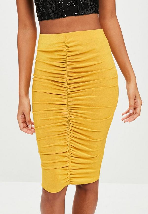mustard glitter ruched midi skirt missguided