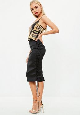 Black Bonded Midi Skirt