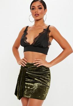 green velvet tie front mini skirt