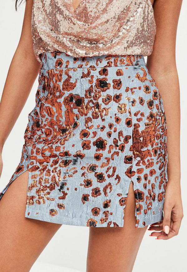 blue leopard jacquard print mini skirt missguided