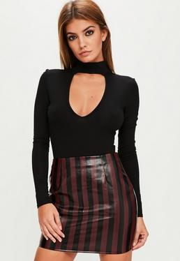 Burgundy faux leather striped skirt