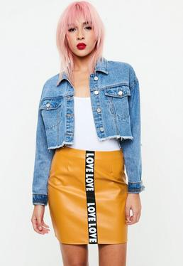 Yellow Love Slogan Faux Leather Mini Skirt