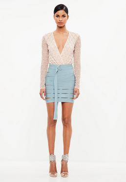 Peace + Love Blue Bandage Cut Out Mini Skirt