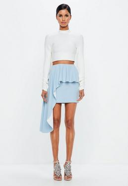 Peace + Love Powder Blue Exaggerated Frill Skirt