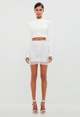 Peace + Love White Embellished Mini Skirt