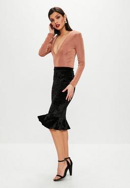 Black Peplum Hem Midi Skirt