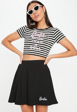Barbie x Missguided Czarna plisowana spódniczka mini