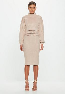 Peace + Love Blush Suede Belted Midi Skirt