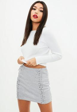 Grey Lace Up Ribbed Mini Skirt