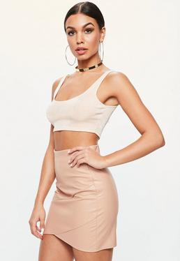 Nude Wrap Front Faux Leather Mini Skirt