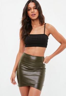 Khaki Faux Leather Wrap Front Mini Skirt