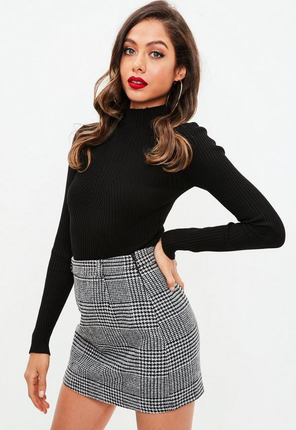 Grey Brushed Dogtooth Mini Skirt by Missguided