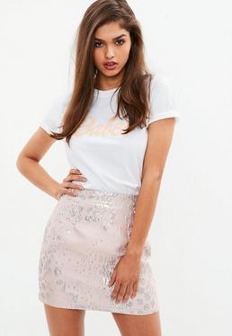 Pink Leopard Jacquard Mini Skirt