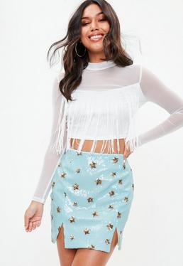 Blue Sequin Star Notch Mini Skirt