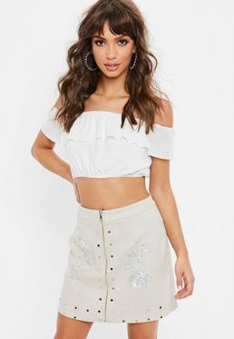 Nude Faux Suede Mini Skirt