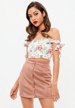 Dusky Pink Button Thru Faux Suede Mini Skirt