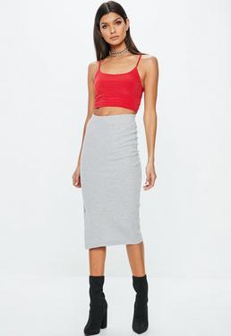 Grey Ribbed Popper Midi Skirt