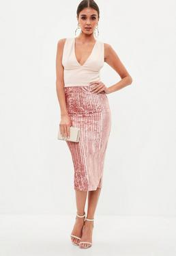 Blush Velvet Pleated Midi Skirt