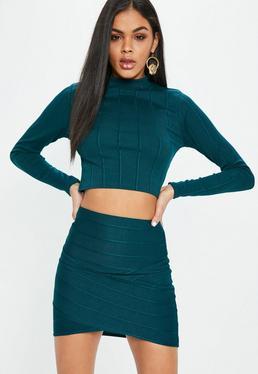 Blue Bandage Asymmetric Mini Skirt