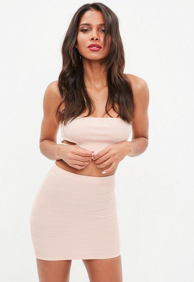 Product photo of Nude bandage mini skirt beige