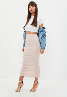 Nude Bandage Maxi Skirt