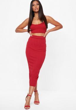 Red Bandage Maxi Skirt