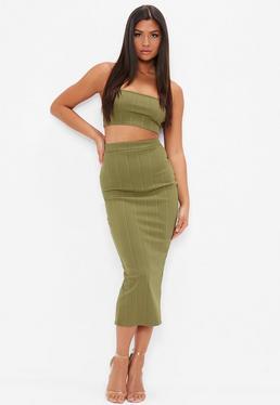 Khaki Bandage Maxi Skirt