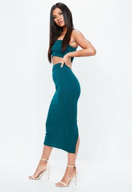 Green Bandage Maxi Skirt