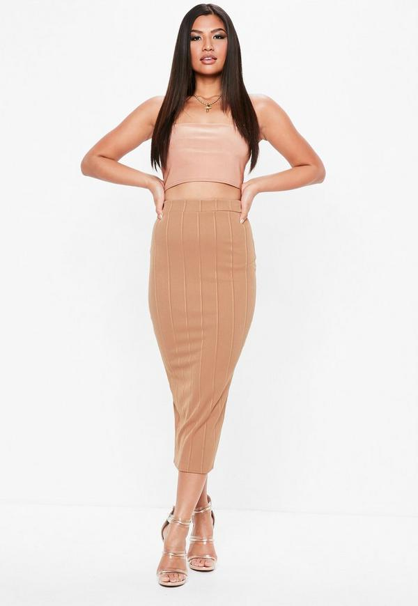 Camel Bandage Midaxi Skirt by Missguided