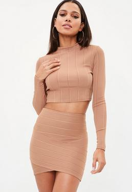 Camel High Waist Wrap Front Bandage Skirt