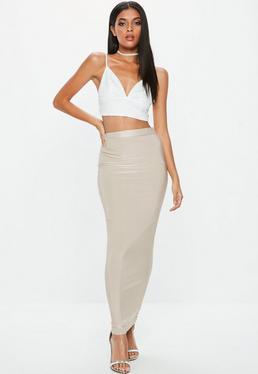 Grey Disco Slinky Midaxi Skirt