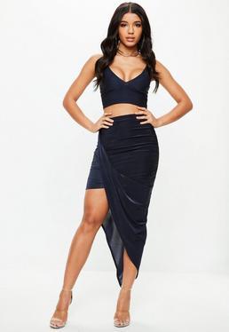 Navy Slinky Asymmetric Skirt