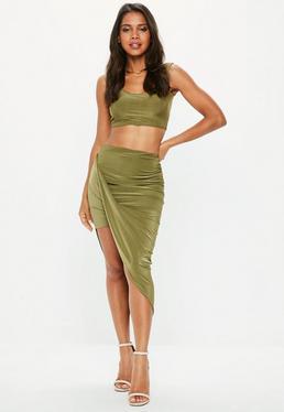 Khaki Disco Slinky Midi Aysmmetric Skirt