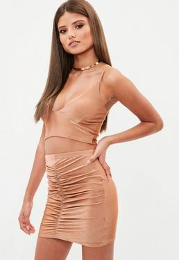 Brown Slinky Gathered Front Mini Skirt