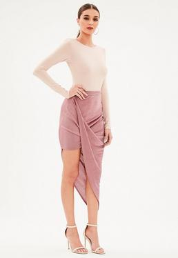 Pink Slinky Drape Mini Skirt